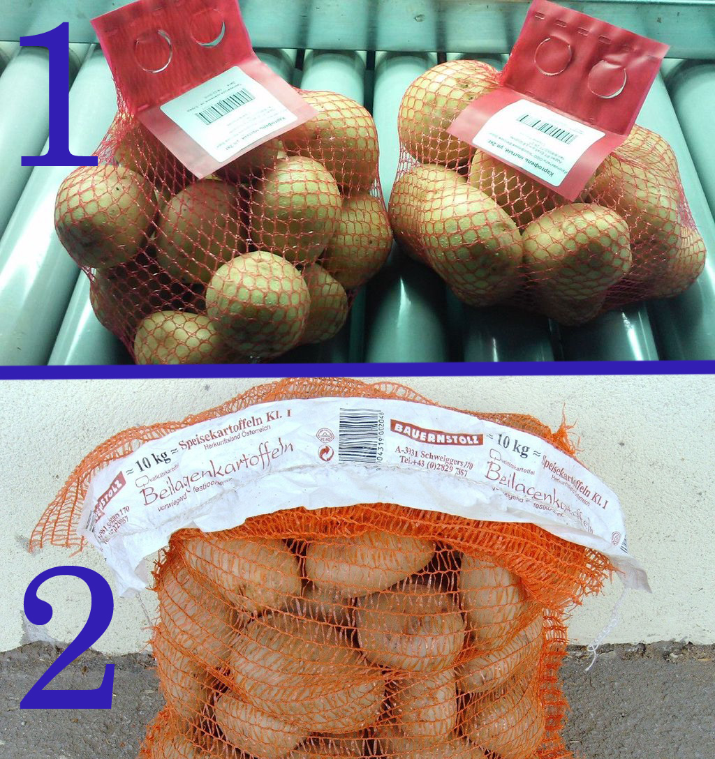 Маркировка картошки самоклеящейся и вшивной этикеткой